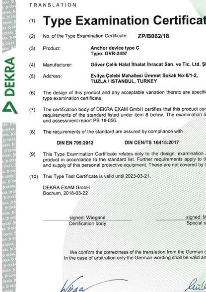 EN795-2012 Yatay Yaşam Hattı Sertifikası